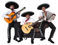 Mexikanischer Musikermariachi versehen mit einem Band Stockbilder