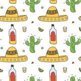 Mexikanischer nahtloser Musterhintergrund mit Sombrero, Tequila, Kalk, Kaktus Stockfotos
