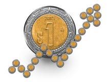 Mexikanischer Peso-Wachstums-Münze Stockbild