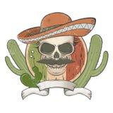 Mexikanischer Schädel der Weinlese mit Sombrero und dem Schnurrbart Lizenzfreies Stockbild