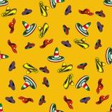 Mexikanischer Sombrero, vector nahtloses Muster Lizenzfreie Stockfotos
