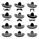Mexikanischer Sombrerohut mit Schnurrbart- oder Schnurrbartikonen Stockfoto