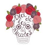 Mexikanischer Tag der Toten Hand skizzierte Beschriftung Lizenzfreies Stockfoto