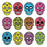 Mexikanischer Zuckerschädel Halloweens, Ikonen Dia de Los Muertos eingestellt Stockbild