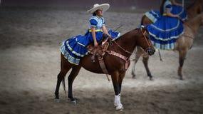 Mexikanisches adelita über einem Pferd Stockbilder