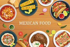 Mexikanisches Lebensmittel auf einem hölzernen Hintergrund Draufsicht des mexikanischen Lebensmittels vektor abbildung