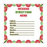Mexikanisches Lebensmittel-Menü Lizenzfreies Stockfoto