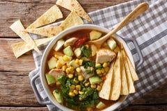 Mexikanisches Lebensmittel: Tortillasuppe mit Huhn, Tomaten, Avocado und lizenzfreie stockbilder