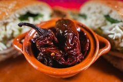 Mexikanisches Lebensmittel würziges Mexiko City Paprika Chipotle Lizenzfreies Stockfoto