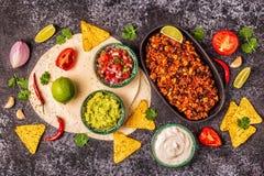 Mexikanisches Nahrungsmittelkonzept: Tortillas, Nachos mit Guacamolen, Salsa lizenzfreie stockfotografie