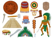 Mexikansk forntida kultur för Aztec vektor i det Mexico och mayamanteckenet av den mayan civilisationillustrationuppsättningen av stock illustrationer