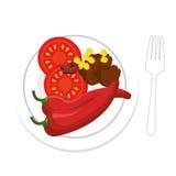 Mexikansk mat för chili och för kött med röd peppar royaltyfri illustrationer