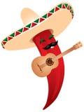 mexikansk pepparsombrero för chili vektor illustrationer