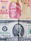 mexikansk sedel av 100 pesos och dollarräkning för amerikan två, bakgrund och textur Royaltyfri Fotografi