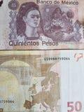 mexikansk sedel av 500 pesos och sedeln för euro 50, bakgrund och textur Royaltyfri Bild