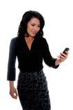 mexikansk textkvinna för messaging arkivfoton