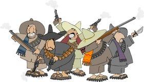 mexikanska banditos stock illustrationer