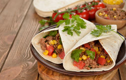 mexikanska burritos Arkivfoto