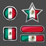 mexikanska samlingsflaggasymboler stock illustrationer