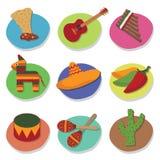 mexikanska symboler stock illustrationer