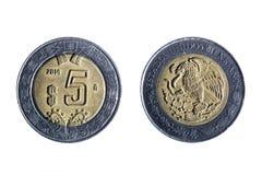 Mexikanskt mynt för fem peso Royaltyfri Bild