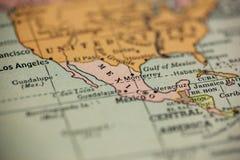 Mexiko auf Weinlese-Karte lizenzfreie stockfotografie