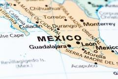 Mexiko City auf einer Karte lizenzfreie stockfotos