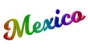 Mexiko- Cityname kalligraphisches 3D machte Text-Illustration gefärbt mit RGB-Regenbogen-Steigung Lizenzfreies Stockfoto