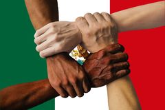 Mexiko flag multicultural group of young people integration diversity.  stock image