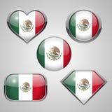 Mexiko-Flaggenikonen Lizenzfreie Stockbilder