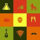 Mexiko-Ikonen-Satz Lizenzfreie Stockbilder
