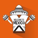 Mexiko-Kulturikonen in der flachen Designart, Stockfotografie