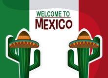 Mexiko-Kulturikonen in der flachen Designart, Vektorillustration Lizenzfreie Stockfotografie