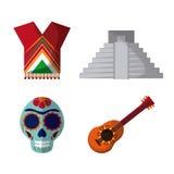 Mexiko-Kulturikonen in der flachen Designart, Vektorillustration Lizenzfreies Stockfoto