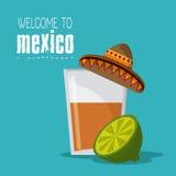 Mexiko-Kulturikonen in der flachen Designart, Vektorillustration Lizenzfreie Stockbilder