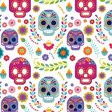 Mexiko-Muster mit dem Schädel und den Blumen stock abbildung