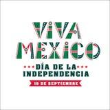 Mexiko-Unabhängigkeitstagkarte, Nationalfeiertagfahne lizenzfreies stockfoto
