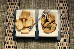 Mexilhões aperitivo e brinde Imagens de Stock Royalty Free