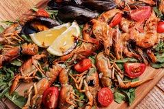 Mexilhões frescos, lagostas, camarão BANDEJA DO MARISCO Fotografia de Stock
