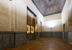 Mexuar霍尔,阿尔罕布拉宫内部Nasrid宫殿的 库存图片