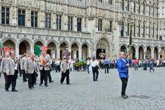 Meyboom的种植园仪式在布鲁塞尔 免版税库存照片