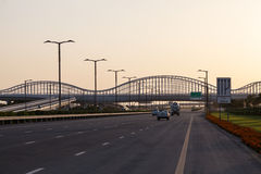 Meydan Bridge and highway in Dubai Stock Image