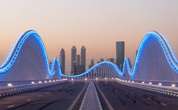 Meydan Bridge at night, Dubai Stock Photo