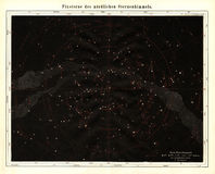 Meyer Antique Astronomy Star Map 1875 av den norr himlen Arkivbilder