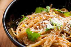 Meyer Lemon Spaghetti Royaltyfri Fotografi