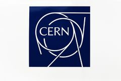 CERN logo on a wall. Meyrin, Switzerland - October 1, 2017: The European Organization for Nuclear Research known as CERN is a European research organization that stock photo