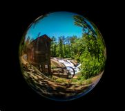 Meytre Grist Mill at McGalliard Falls in Valdese, North Carolina stock photography