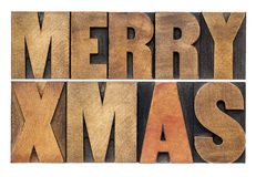 Merry Xmas in wood type Stock Photography