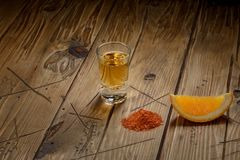 Mezcal που πυροβολείται με τις πορτοκαλιά φέτες και το άλας σκουληκιών Μεξικάνικο ποτό Στοκ εικόνα με δικαίωμα ελεύθερης χρήσης