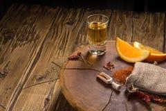 Mezcal tiró con las rebanadas y la sal anaranjadas del gusano Bebida mexicana imagen de archivo libre de regalías